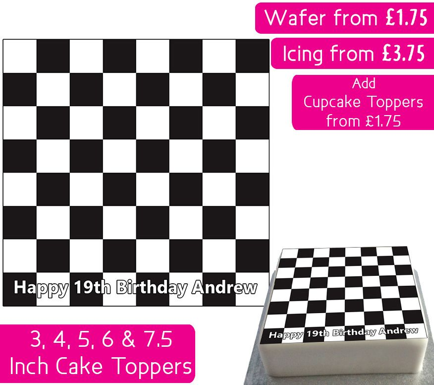Checkered Pattern Square Personalised Cake Topper