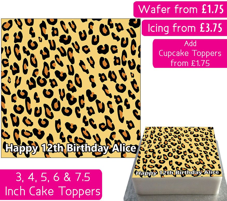 Leopard Print Square Personalised Cake Topper