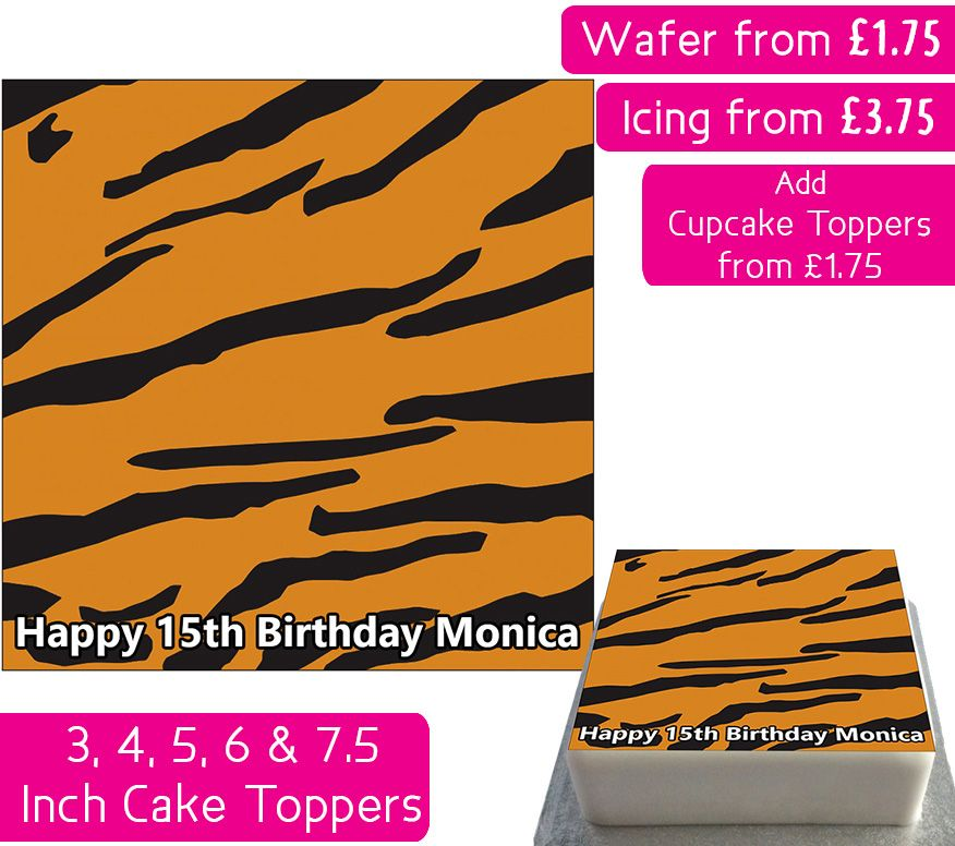 Tiger Print Square Personalised Cake Topper