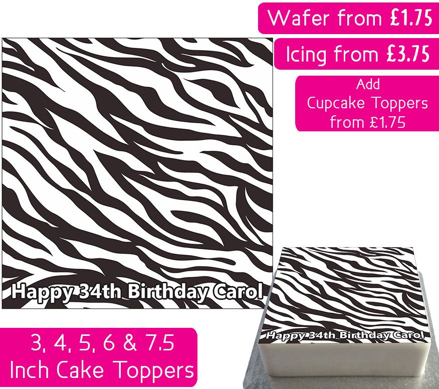 Zebra Print Square Personalised Cake Topper