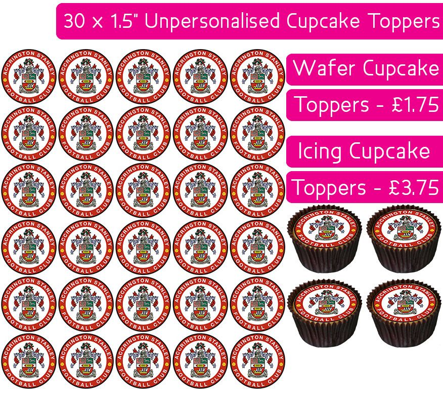 Accrington Stanley Football - 30 Cupcake Toppers
