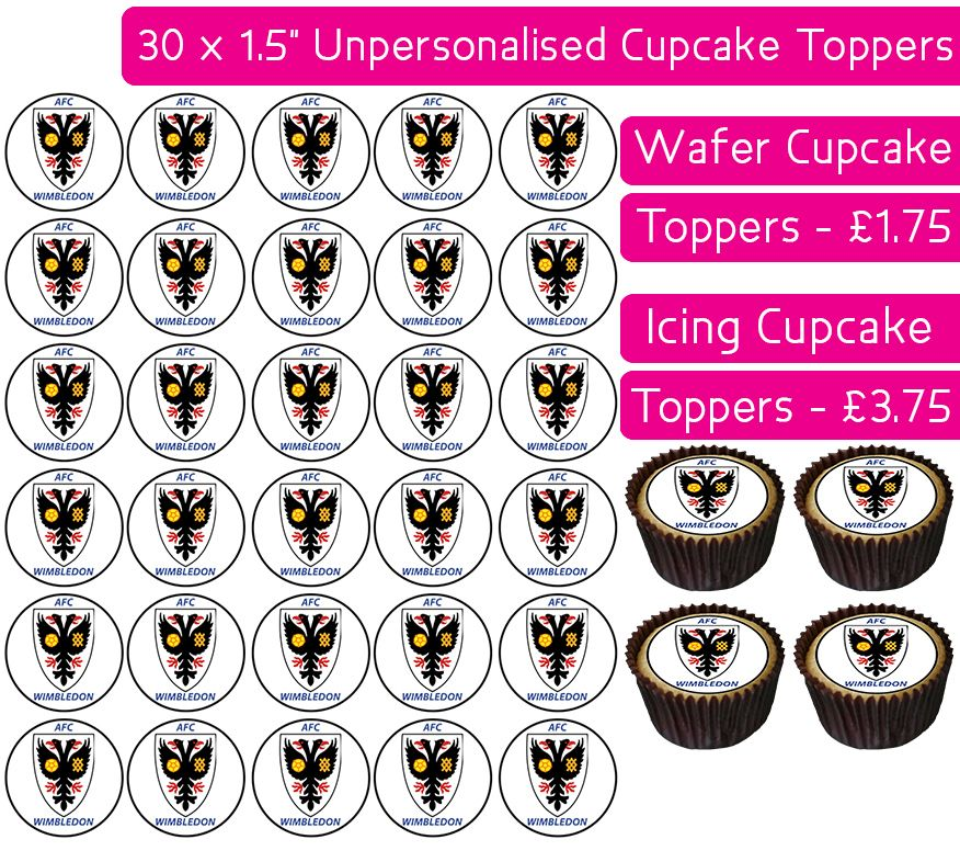AFC Wimbledon Football - 30 Cupcake Toppers