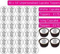 Any Football Team - 30 Cupcake Toppers