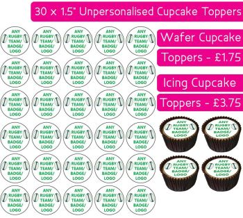 Any Rugby Team - 30 Cupcake Toppers