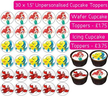 Ariel Mermaid - 30 Cupcake Toppers