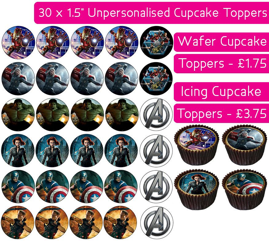 Avengers - 30 Cupcake Toppers