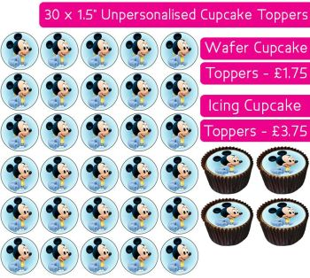 Baby Mickey - 30 Cupcake Toppers