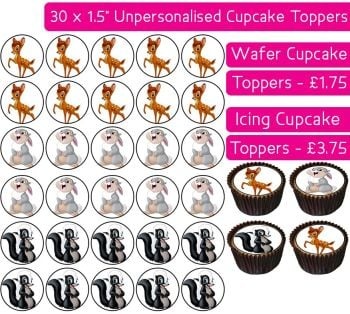 Bambi - 30 Cupcake Toppers