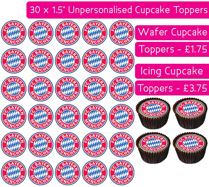 Bayern Munich Football - 30 Cupcake Toppers