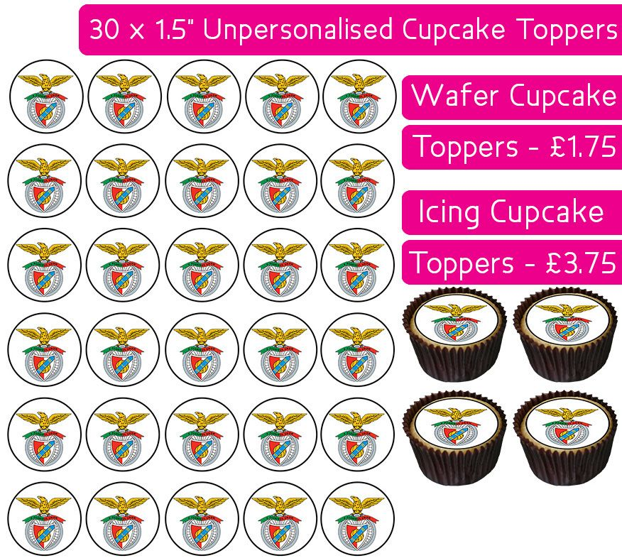 Benfica Football - 30 Cupcake Toppers
