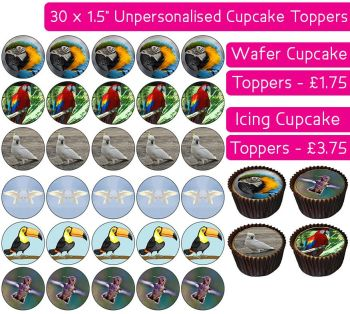 Birds - 30 Cupcake Toppers