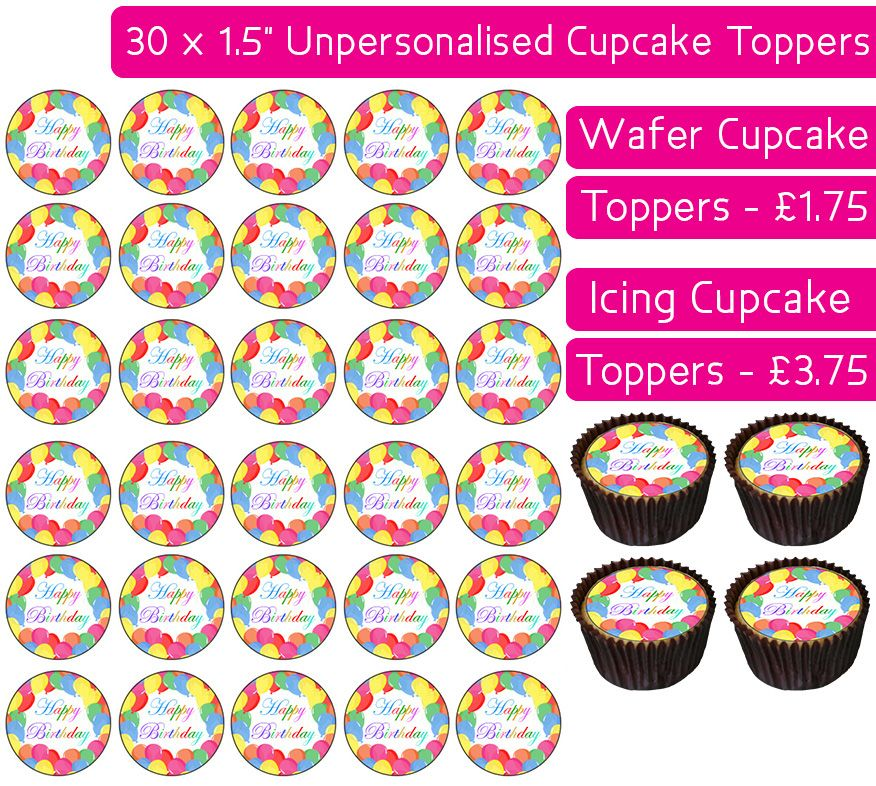 Birthday Balloons - 30 Cupcake Toppers
