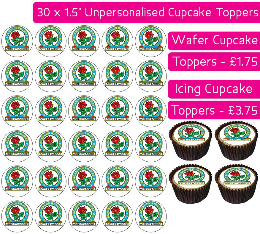 Blackburn Rovers Football - 30 Cupcake Toppers
