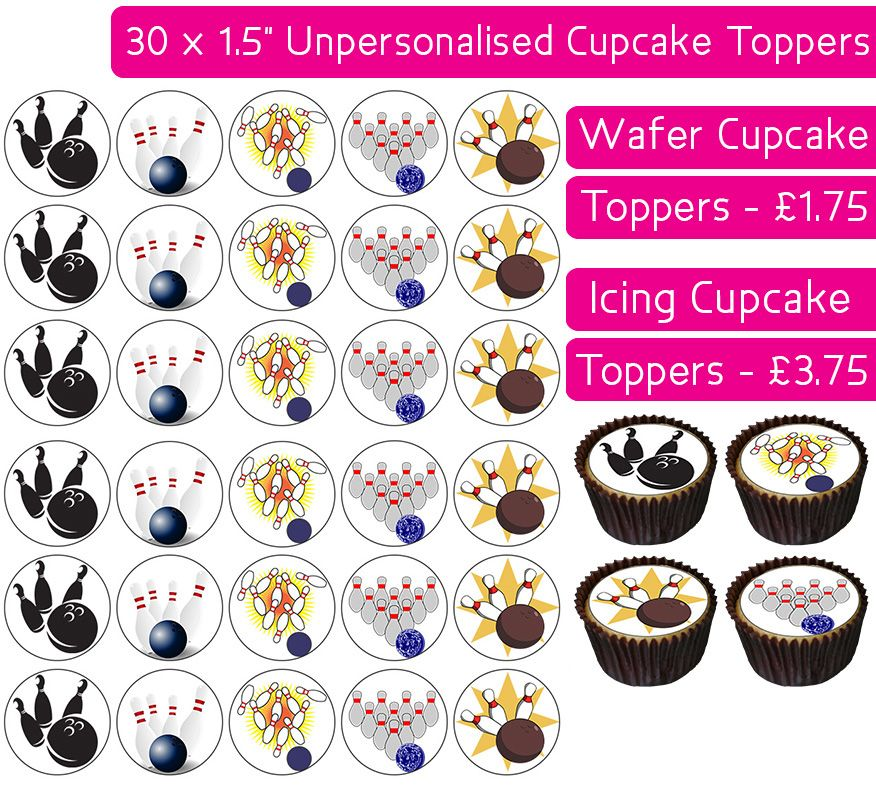 Bowling - 30 Cupcake Toppers