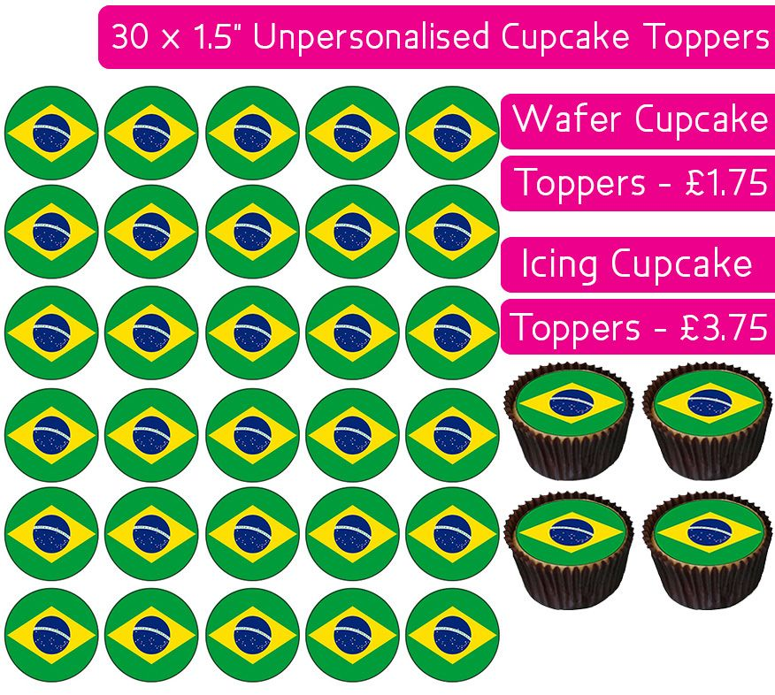 Brazil Flag - 30 Cupcake Toppers