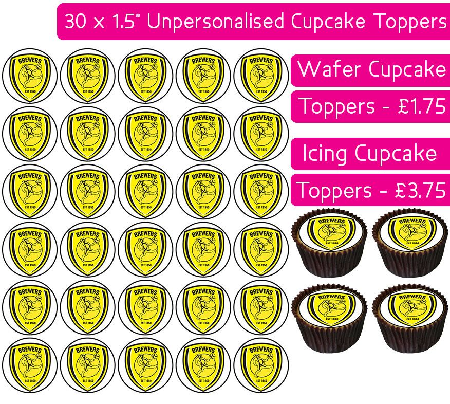 Burton Albion Football - 30 Cupcake Toppers