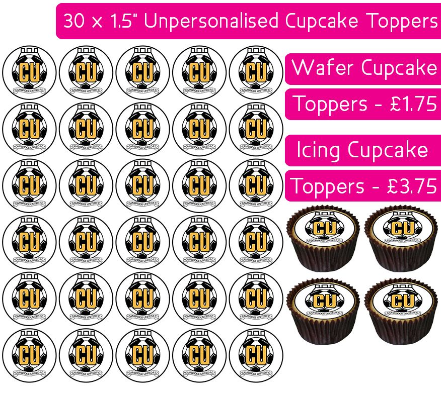 Cambridge United Football - 30 Cupcake Toppers