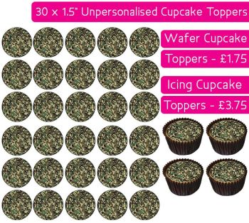 Camouflage Print - 30 Cupcake Toppers