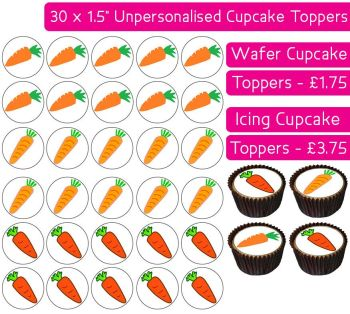 Carrots - 30 Cupcake Toppers