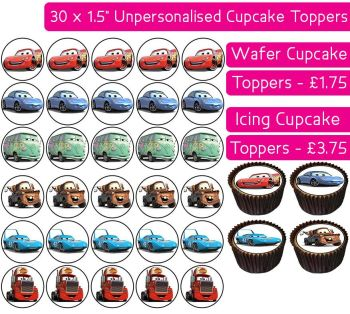 Cars - 30 Cupcake Toppers