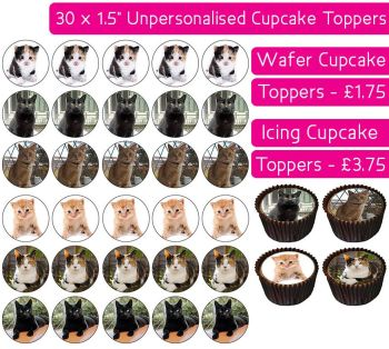 Cats - 30 Cupcake Toppers