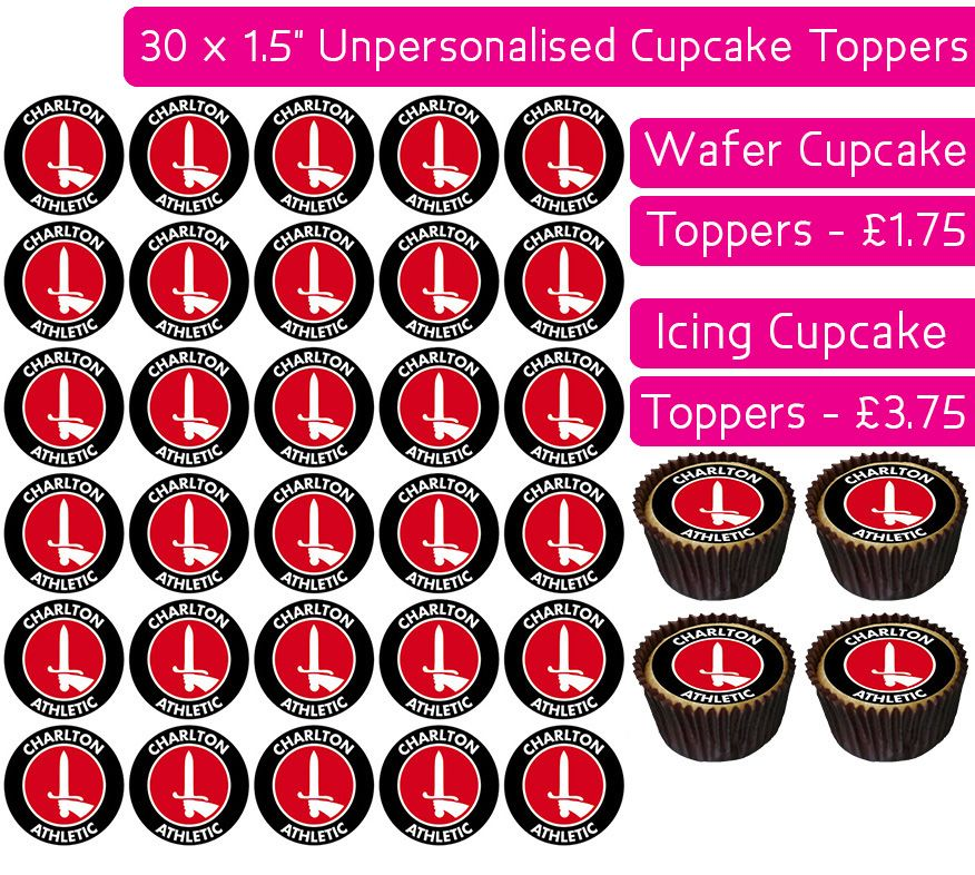 Charlton Athletic Football - 30 Cupcake Toppers