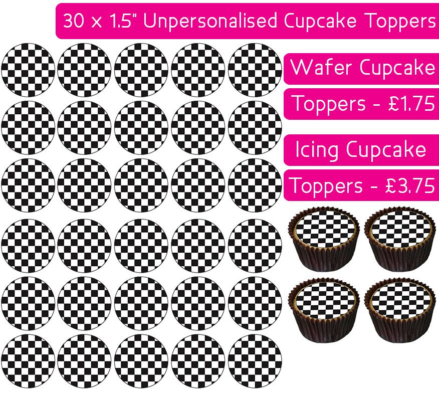 Checkered Pattern - 30 Cupcake Toppers