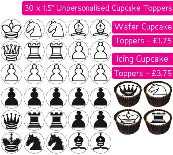 Chess - 30 Cupcake Toppers