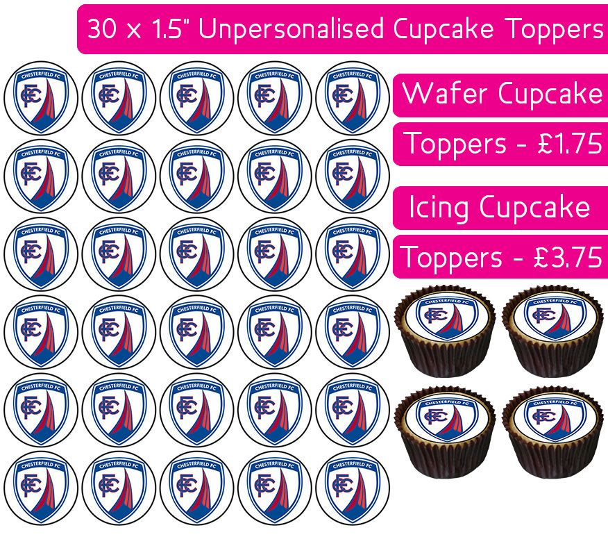 Chesterfield Football - 30 Cupcake Toppers