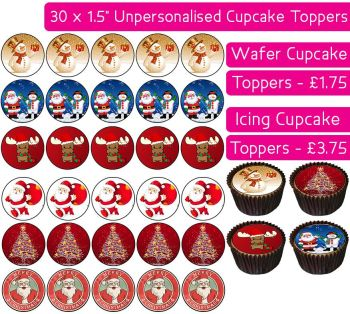 Christmas - 30 Cupcake Toppers