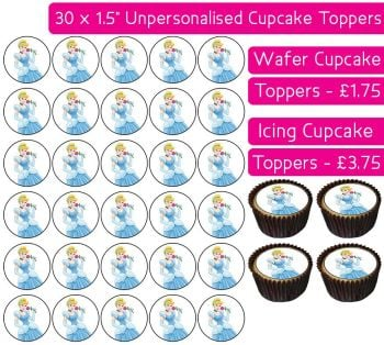 Cinderella - 30 Cupcake Toppers
