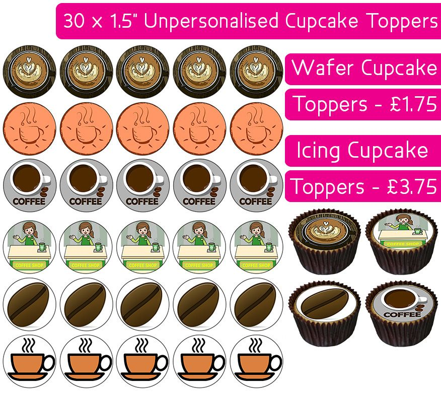 Coffee - 30 Cupcake Toppers