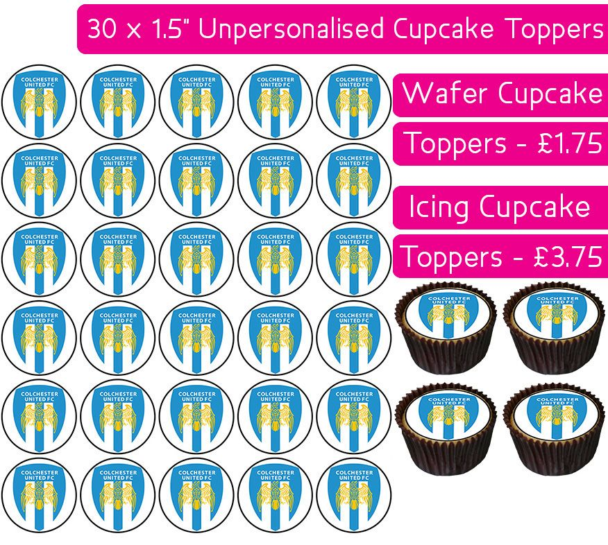 Colchester United Football - 30 Cupcake Toppers