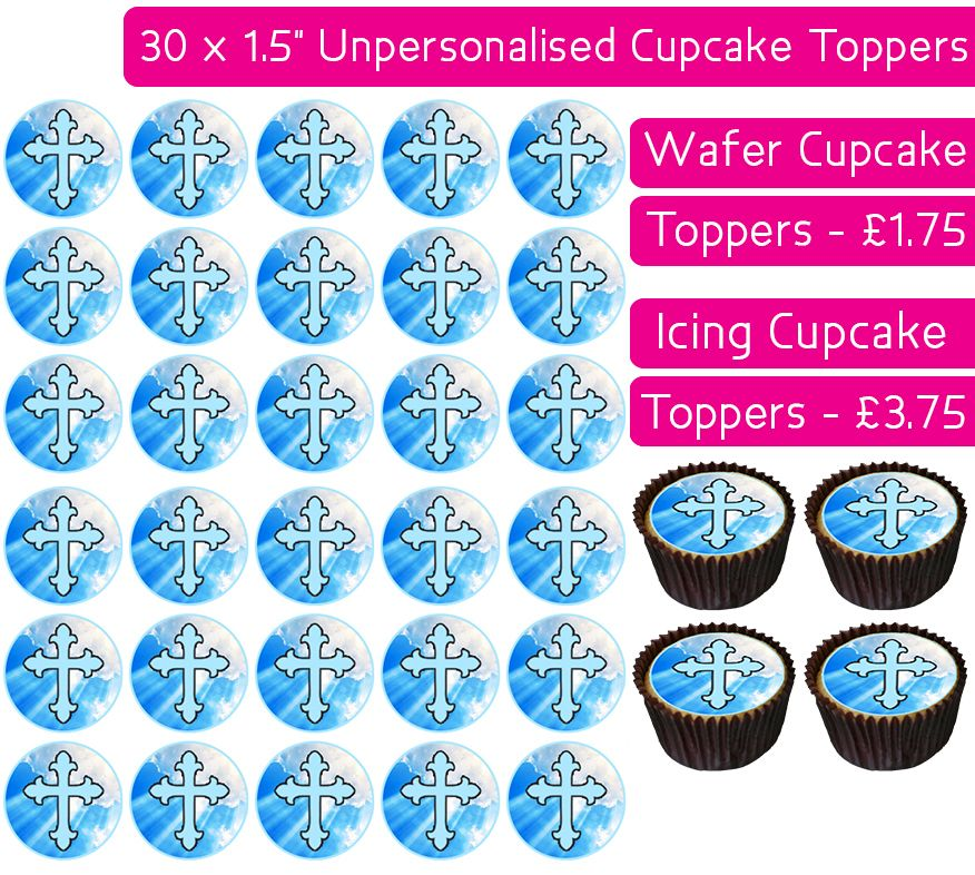 Communion Blue - 30 Cupcake Toppers