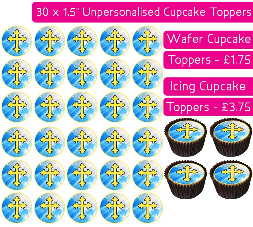 Communion Gold - 30 Cupcake Toppers