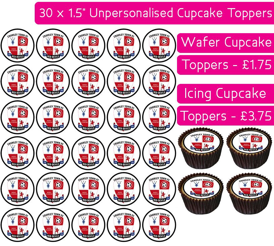 Crawley Town Football - 30 Cupcake Toppers
