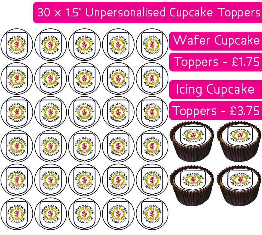Crewe Alexandra Football - 30 Cupcake Toppers