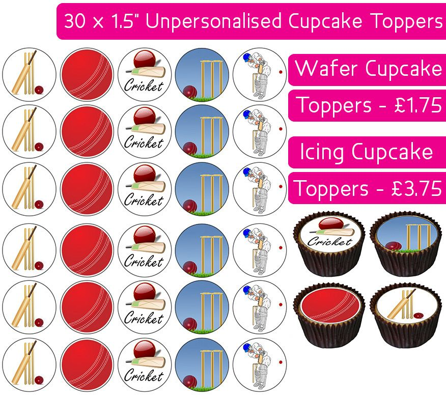 Cricket - 30 Cupcake Toppers