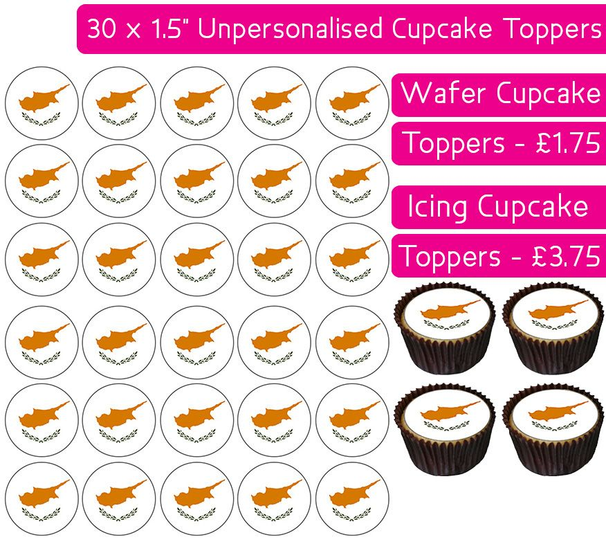 Cyprus Flag - 30 Cupcake Toppers