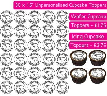 Derby County Football - 30 Cupcake Toppers