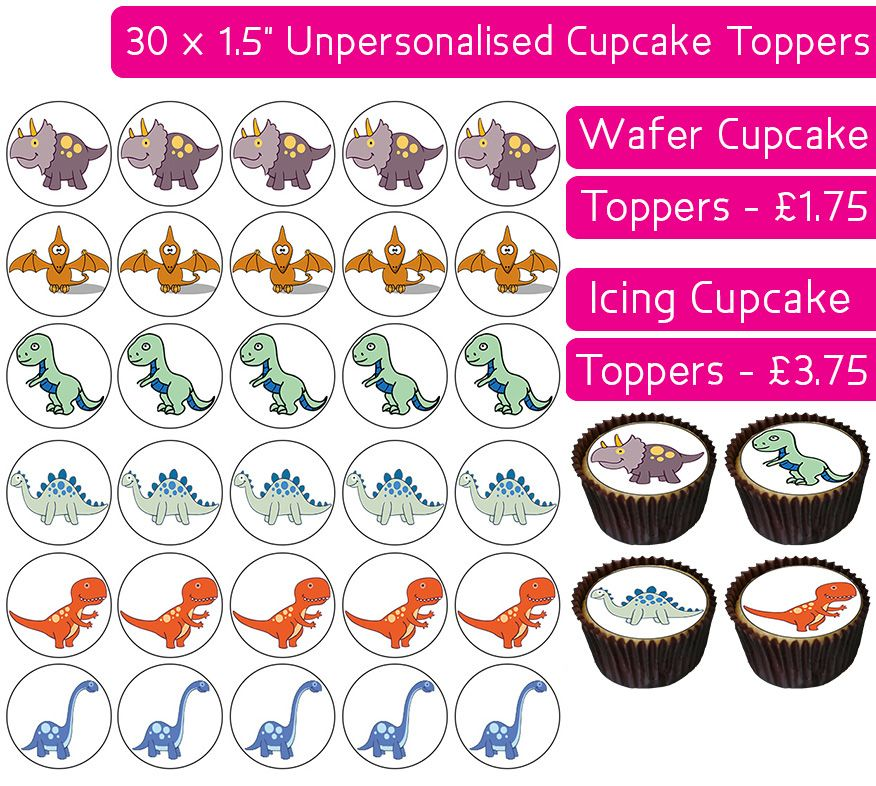Dinosaurs - 30 Cupcake Toppers