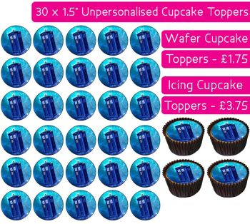 Doctor Who Tardis - 30 Cupcake Toppers