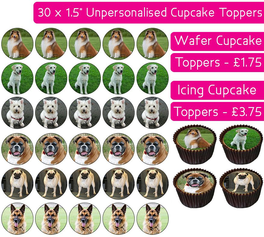 Dogs - 30 Cupcake Toppers