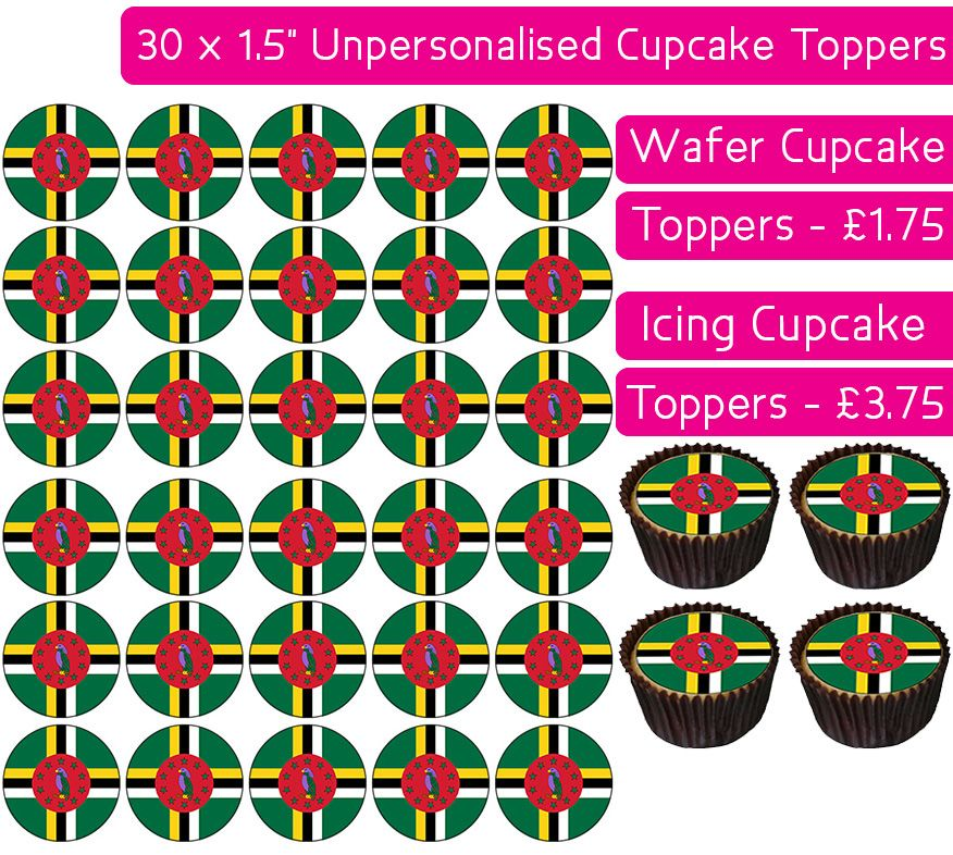 Dominica Flag - 30 Cupcake Toppers