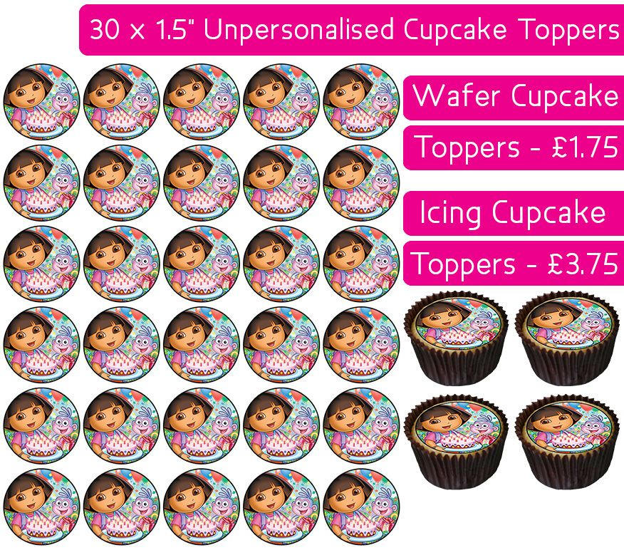Dora The Explorer's Birthday - 30 Cupcake Toppers
