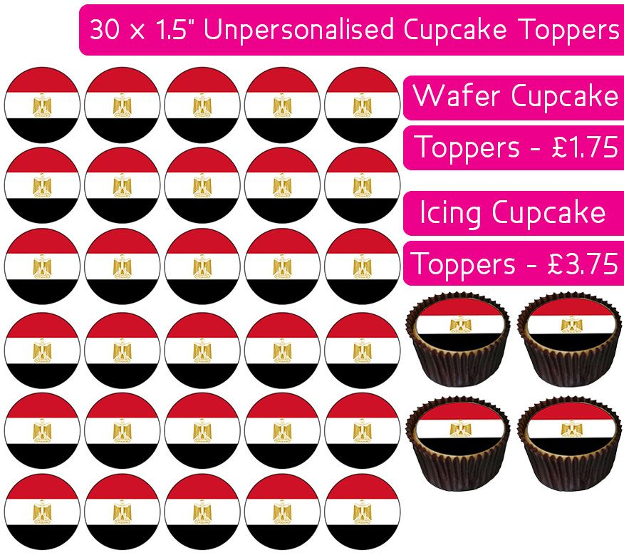 Egypt Flag - 30 Cupcake Toppers