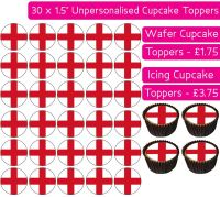England Flag - 30 Cupcake Toppers