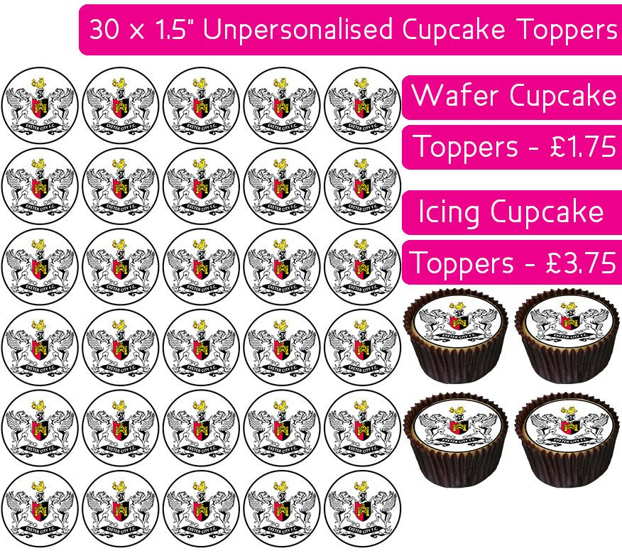 Exeter City Football - 30 Cupcake Toppers