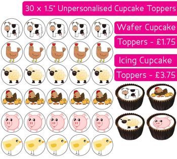 Farm Animals Gang - 30 Cupcake Toppers