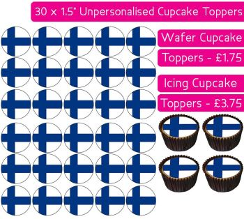 Finland Flag - 30 Cupcake Toppers
